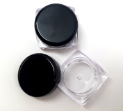 3 Gramme Size 3ML Square Empty Clear Plastic Refillable Cosmetics Containers Eysshadow Glittler Lot Pot Jars Container with Black Glossy Cap Lid