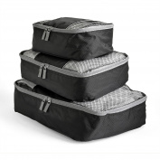 Travel Packing Cubes Set (3 Piece), Ideal for Travel and Closet Organiser (Dark Grey)BIG SAVING!