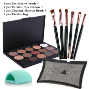 MLMSY 15 Earth Colour Colour Eye Shadow with the Matching 6 PCS Eye Shadow Brushes and Brush Washing Egg Multi Colour Multi Brush to Meet the Different Needs of the Make-up