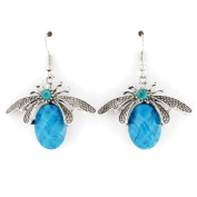 Simple Silver-tone Bee Dangle Drop Earrings
