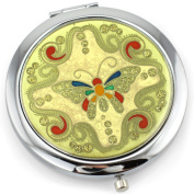 Butterfly Gel Inlay - Dual Sided Steel Compact Mirror - Regular & Magnify