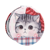 Damara Girls Cute Print Round Compact Cosmetic Mirror,F
