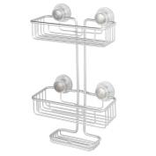 InterDesign 21310 Silver Metro Rustproof Aluminium Turn-N-Lock Suction Shampoo Conditioner Soap 3-Tiers Bathroom Shower Caddy