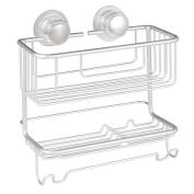 InterDesign 20970 Silver Metro Rustproof Aluminium Turn-N-Lock Suction Shampoo Conditioner Soap 2-Tiers Bathroom Shower Combo Basket