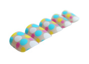 Pretty Woman Nail 24 PCS Colour Changing False Nails Lovely Colourful Dots, ABS, Bule Yellow White Red