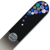 Large Size Glass Nail File Hand Decorated with Elements, in Black Velvet Sleeve, Genuine Czech Tempered Glass, Lifetime Guarantee, Hand-Made Crystal Nail File