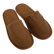 Waffle Closed Toe Adult Slippers Spa Hotel Slippers for Women and Men Chocolate