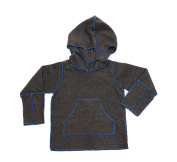 Hej Kid's Luk Fleece Charcoal Hoodie, Grey with Blue Stitching, 7-8 months