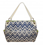Caught Ya Lookin' Chevron Chic Nappy Bag, Blue and White