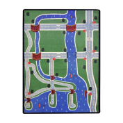 Joy Carpets Kid Essentials Active Play & Juvenile Creataville Rug, Multicoloured, 0.9m x 1.5m
