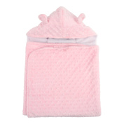My Blankee Minky Dot Hooded Towel with Cotton Terry Lining, Pink, Infant Size