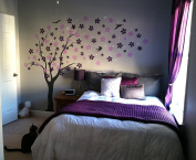 "Pop Decors ""Black/Lilac/Violet Go Right Drifting Flowers and Birds"" Beautiful Wall Stickers for Kids Rooms"