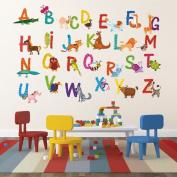 Pop Decors Repositionable Wall Sticker, 26 Alphabet Animals