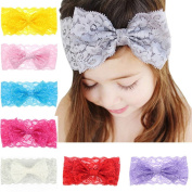 Great Deal 8Pcs Baby Girls Lace Flower Bowknot Elastic Headband Photography Hairclip Photography Props