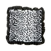 Max Daniel Black Jaguar Security Blanket- Jaguar Front and Satin Back with Black Ruffle