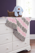 Mary Maxim Broken Ripple Blanket - Pink