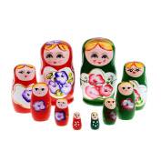 Sciotex(TM) BS#S 5pcs Purple Dolls Set Wooden Russian Nesting Babushka Matryoshka Hand Paint