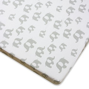 Wendy Bellissimo Mix & Match Elephant Fitted Crib Sheet in Grey
