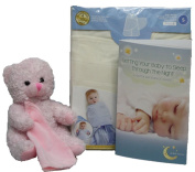 New Baby Gift Set Bundled with Sleepsack Swaddle, Getting Your Baby to Sleep Booklet, and a Pink Teddy Bear