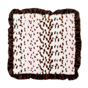 Max Daniel Pink Snow Leopard Security Blanket with Chocolate Satin Back and Ruffle