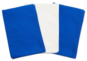 3 Toddler Pillowcases - 2 Blue and 1 White - Envelope Style - 13x18 - 100% Cotton With Percale Weave - Machine Washable - ZadisonJaxx ZacharyPaul Collection - 3 Pack