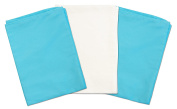 3 Toddler Pillowcases - 2 Turquoise and 1 White - Envelope Style - 13x18 - 100% Cotton With Soft Sateen Weave - Machine Washable - ZadisonJaxx Bellacolour Collection - 3 Pack