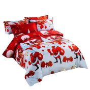 Lucoo 2017 Christmas Lovely New Fashion soft comfortable New 4 Pcs Home Textile Christmas Bedding Set Duvet Cover Bed Sheet Pillowcases