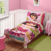 Dora the Explorer Pets 3pc Toddler Bedding Set with Matching Pillow Case, 100% Polyester
