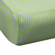 Spark Comfort Tranquil Baby Premium 100% Organic Cotton Fitted Crib Sheet Sateen Weave Striped Green