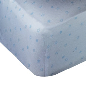 Spark Comfort Tranquil Baby Premium 100% Organic Jersey Cotton Fitted Crib Sheet White Blue Star
