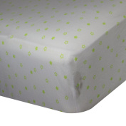 Spark Comfort Tranquil Baby Premium 100% Organic Jersey Cotton Fitted Crib Sheet White Green Star