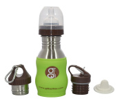 Goo Goo Baby Improved G2 WAVE Stainless Steel Grow Bottle System with Silicone Sleeve & fluid Measurements Inside, Lime