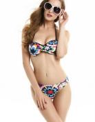 2016 hot print women bandeau bikini wired push up swimsuit