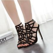 High Heels Sandals Women's Slimmer Heel Party Shoes Solid Black