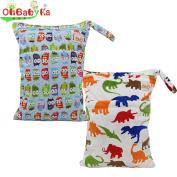 Mommy Wet Dry Cloth Nappy Organiser Double zipper Bag by Ohbabyka
