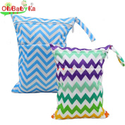 Baby Wet Dry Cloth Nappy Organiser Double zipper Bag ,2pcs by Ohbabyka