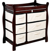 Badger Basket - Changing Table with Six Baskets, Cherry