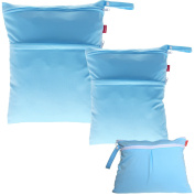 Damero 3pcs Pack Wet Dry Bag for Cloth Nappies Daycare Organiser Bag, Light Blue