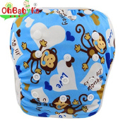 OHBABYKA One Size Baby Swim Nappy Pant Washable Swim Nappy Pool Pant Cute Monkeys