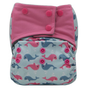 Asenappy Charcoal Bamboo Washable Reusable All-In-One Cloth Pocket Nappy Sewn Insert Dolphin