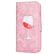 iPhone 6S Plus / 6 Plus Pink Wallet Case, PHEZEN Bling Liquid Glitter Love Heart Floating 3D Wine Glass Luxury Pu Leather Magnet Flip Case Cover with Credit Card Slot for iPhone 6/6S Plus 14cm , Red