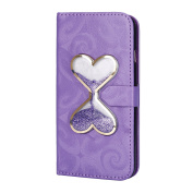 iPhone SE Case,iPhone SE 5S Wallet Case, PHEZEN Bling Liquid Glitter Love Heart Floating 3D Hourglasses Luxury Pu Leather Magnet Flip Case Cover with Credit Card Slots for iPhone SE 5 5S, Purple