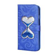 iPhone 6S Plus / 6 Plus Wallet Case,PHEZEN Bling Liquid Glitter Love Heart Flowing 3D Hourglasses Luxury Pu Leather Magnet Flip Case Cover with Credit Card Slot for iPhone 6/6S Plus 14cm , Blue