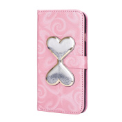 iPhone 6S Case,iPhone 6 6S Wallet Case, PHEZEN Bling Liquid Glitter Love Heart Floating 3D Hourglasses Luxury Pu Leather Magnet Flip Case Cover with Credit Card Slots for iPhone 6/6S 12cm , Pink,Silver