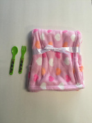 Snugly Baby Blanket (pink with hearts) plus a spoon and a fork