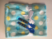 Snugly Baby Blanket (blue with dots) plus a spoon and a fork