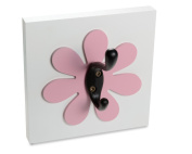 Flower Single Wall Hook, Dark Pink