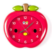 Wall Clocks For Kids (Red Apple) - Fun Colourful Design For Boy Or Girls Room. Silent Non-Ticking Hand. Best For Bedroom, Nursery, Playroom & Classroom Decor. Great For Teaching A Child To Read Time