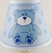 Blue Teddy Bear Night Light With Stars and Moon / Teddy Bear Nursery Decor