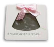 "White and Pink Baby Sonogram Frame - ""A Miracle Waiting to be Seen"" - 13cm x 14cm"
